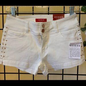 ❤️GUESS Shaina Studded White Denim Shorts 24 NWT!!